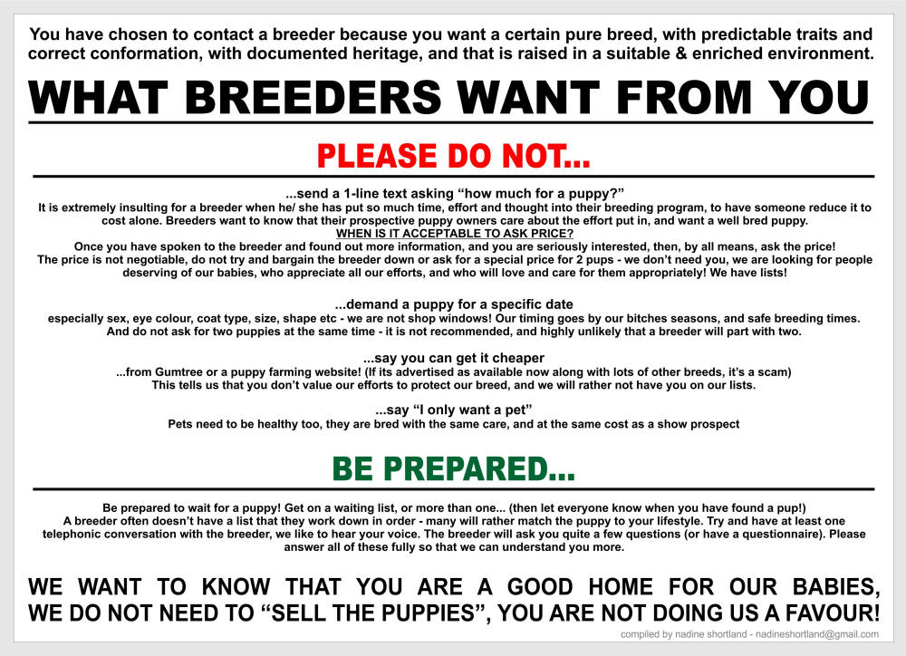 what breeders want from you